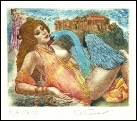 David Bekker 1996 Exlibris C4 Mythology Leda and Swan Nude 568