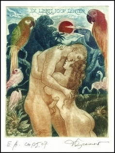 David Bekker 1997 Exlibris C4 Adam & Eve Erotic Bird Parrot 603