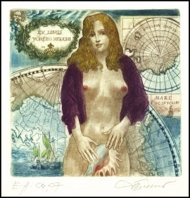 David Bekker 1997 Exlibris C4 Erotic Nude Cartography Map 610