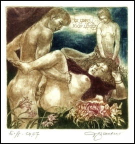 David Bekker 1997 Exlibris C4 Erotic Nude Woman Flower 614
