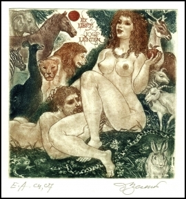 David Bekker 1998 Exlibris C4 Adam and Eve Erotic Nude Horse 668