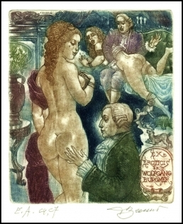 David Bekker 1999 Exlibris C4 Erotic Nude Woman Dog Hund 680