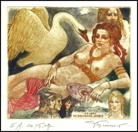 David Bekker 1999 Exlibris C4 Mythology Leda and Swan Nude 692