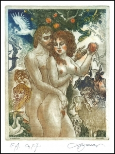 David Bekker 1999 Exlibris C4 Adam and Eve Erotic Cat Bull 696