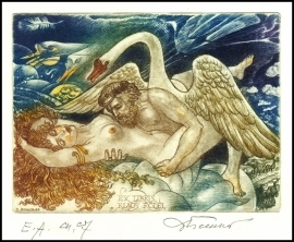 David Bekker 1999 Exlibris C4 Mythology Leda and Swan Nude 700