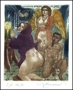 David Bekker 1999 Exlibris C4 Erotic Nude Woman Angel Devil 720