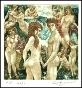 David Bekker 2000 Exlibris C4 Adam and Eve Erotic Nude 740