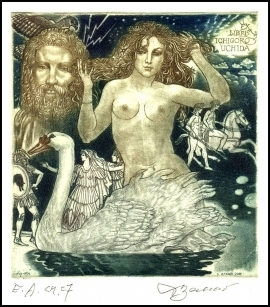 David Bekker 2000 Exlibris C4 Leda and Swan Erotic Nude Bird 754