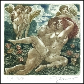 David Bekker 2001 Exlibris C4 Adam and Eve Erotic Nude Angel 764