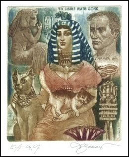David Bekker 2001 Exlibris C4 Cleo & Cat Erotic Nude Egypt 766