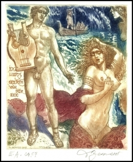 David Bekker 2005 Exlibris C4 Mythology Odysseus Erotic Ship 852