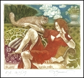 David Bekker 2009 Exlibris C4 Erotic Nude Woman Cat Katze 912