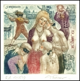 David Bekker 2013 Exlibris C4 Madam Pompadoure Erotic Music 980