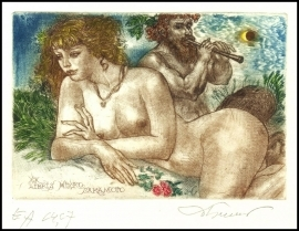 David Bekker Exlibris C4 Mythology Bacchus Erotic Devil 114