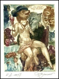 David Bekker 2013 Exlibris C4 Erotic Fox Fuchs Cock Lion d16