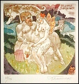 David Bekker 2015 Exlibris C4 Mythology Erotic Nude Devil 1019