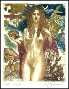 David Bekker 1994 Exlibris C4 Erotic Nude Fish Fisch Sail Ship 5