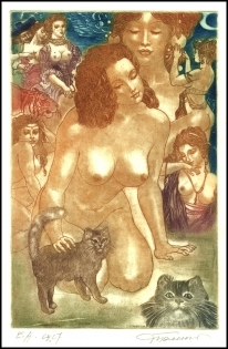 David Bekker 2001 Exlibris C4 Erotic Nude Woman Cat Katze b78