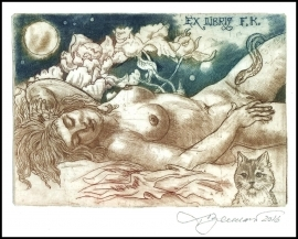 David Bekker 2016 Exlibris C4 Erotic Nude Woman Cat Katze d86