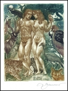 David Bekker Exlibris C4 Adam and Eve Erotic Nude Cat Bull d87