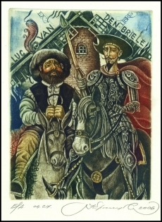 Kirnitskiy Sergey 2006 Exlibris C4 Don Quichote Windmill 126