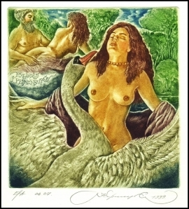 Kirnitskiy Sergey 1999 Exlibris C4 Mythology Leda and Swan 13