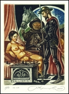 Kirnitskiy Sergey 2011 Exlibris C4 Don Quichote Erotic Chess 194
