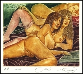 Kirnitskiy Sergey 2002 Exlibris C4 Erotic Nude Woman Book 48