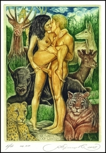 Kirnitskiy Sergey 2003 Exlibris C4 Adam and Eve Lion Cat Bull 74