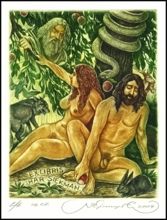 Kirnitskiy Sergey 2004 Exlibris C4 Adam and Eve Erotic Wolf 94