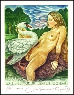 Kirnitskiy Sergey 2004 Exlibris C4 Mythology Leda and Swan 98