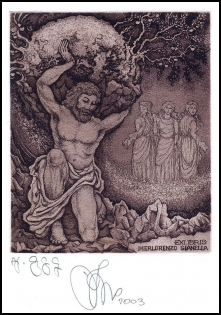Agirba Ruslan 2003 Exlibris C3 Mythology Atlas Erotic Woman 244
