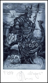 Agirba Ruslan 2007 Exlibris C3 Project Wikings Warrior Ship Bird