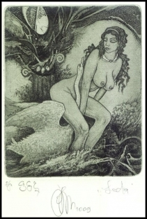Agirba Ruslan 2009 Exlibris C3 Leda and Swan Mythology Erotic
