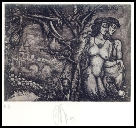 Agirba Ruslan 2009 Exlibris C3 Adam and Eve Erotic Nudo Snake