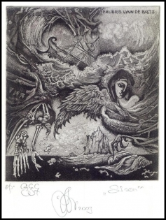 Agirba Ruslan 2009 Exlibris C3 Mythology Siren Harpy Erotic Ship