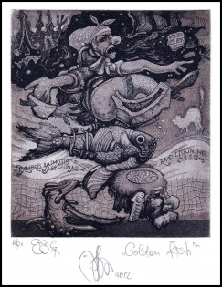 Agirba Ruslan 2012 Exlibris C3 Fairy Tale Golden Fish Cat Katze