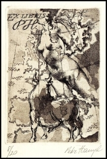 Hampl Petr 1990 Exlibris C3 Europa and Bull Erotic Nude Map 102