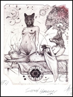 Hujber Gunter 2015 Exlibris C2 Massa Erotic Fox Cat Katze 114a