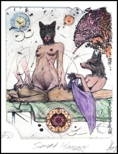 Hujber Gunter 2015 Exlibris C2 Massa Erotic Fox Cat Katze 114c