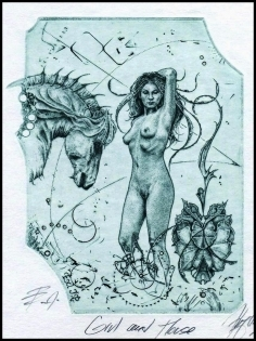 Hujber Gunter 2016 Exlibris C2 Girl with Horse Erotic Pferd 133c