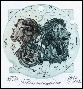 Hujber Gunter 2016 Exlibris C2 Animals Lion Aries Widder 134