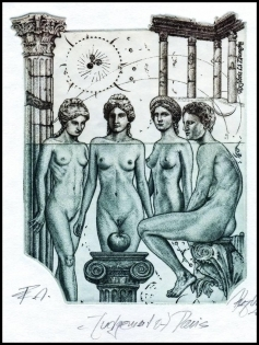 Hujber Gunter 2016 Exlibris C2 Mythology Paris Erotic Nude 135