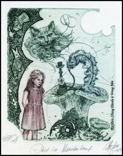Hujber Gunter 2017 Exlibris C2 Alice in Wonderland Rabbit 139b