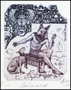 Hujber Gunter 2017 Exlibris C2 Mythology Anubis Erotic Cat 143b