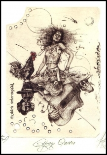 Hujber Gunter 2010 Exlibris C2 Gypsy Queen Erotic Music Rooster