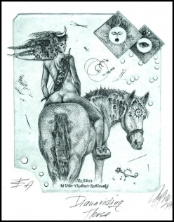 Hujber Gunter 2010 Exlibris C2 Diana on Horse Erotic Cheval 23