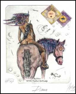 Hujber Gunter 2010 Exlibris C2 Diana on Horse Erotic Cheval 23c