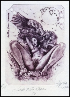 Hujber Gunter 2011 Exlibris C2 Leda and Swan Erotic Nude 26c