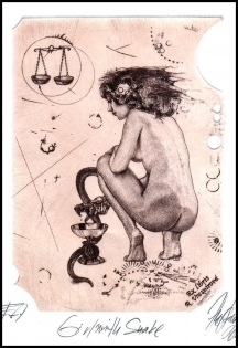 Hujber Gunter 2011 Exlibris C2 Girl with Snake Erotic Medicine